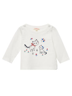 Tee shirt manches longues ecru layette fille JIGRATEE1 / 20SG09E1TML001