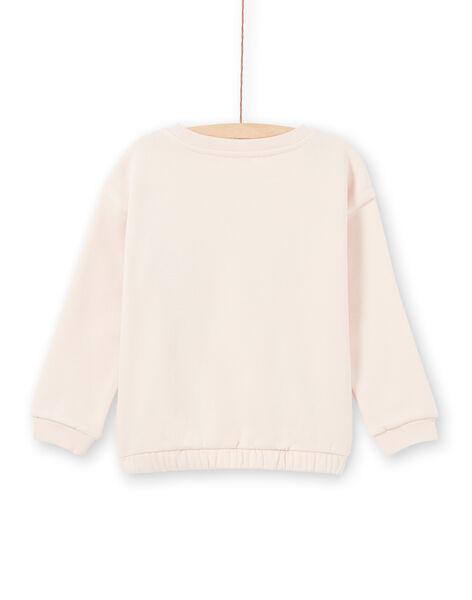 Sweatshirt rose pâle animation perroquet enfant fille MAPASWEA / 21W901H1SWED319