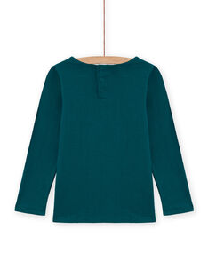 T-shirt bleu canard avec dentelle enfant fille MAJOSTEE4 / 21W90129TML714