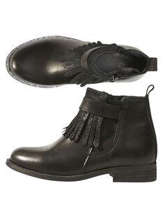 Boots à frange cuir noir enfant fille GFBOOTTREP / 19WK35I6D0D090