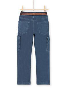 Pantalon bleu à poches enfant garçon MOJOPAMAT3 / 21W90221PANC202