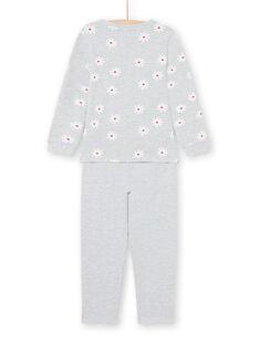 Ensemble pyjama T-shirt et pantalon gris chiné enfant fille MEFAPYJDOG / 21WH1185PYJ943