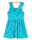 Robe turquoise à bretelles volantées imprimé dauphin et fleur enfant fille LAPLAROB2 / 21S901T1ROBC216