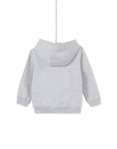 Sweat zippé gris chiné à capuche enfant garçon KOECOGIL / 20W902H1GIL943