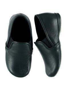 """Chausson forme """" sans gêne"""" en cuir marine avec un bord contrastant bleu clair. Doublure et semelle intérieure en éponge pour plus de confort et de douceur.  GGBEAUFILS / 19WK36B1D0B070"""