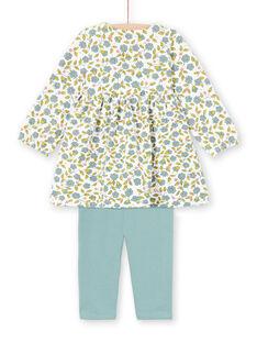 Ensemble robe imprimé fleuri et legging écru et vert d'eau bébé fille MIKAENS / 21WG09I1ENS001