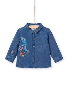 Chemise en jean manches longues motif dinosaure bébé garçon MUPACHEM / 21WG10H1CHMP274