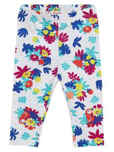 Legging blanc imprimé fleuri multicolore bébé fille JYIMARLEG / 20SI09P2CAL000
