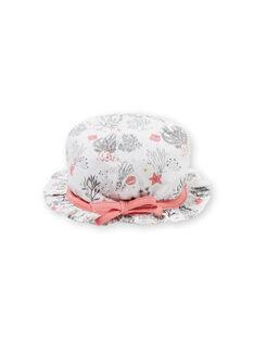 Chapeau blanc à imprimé fantaisie naissance fille LOU2CHA / 21SF40I1CHA000