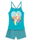 Pyjama court enfant fille turquoise  JEFAPYJ5 / 20SH11U5PYJ621