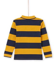 Polo jaune et bleu marine à rayures enfant garçon MOJOPOL5 / 21W90213POL113