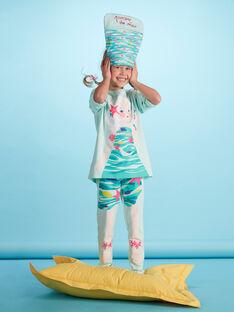 Pyjama déguisement bleu clair enfant fille avec son range-pyjama JEFAPYJMER / 20SH11L2PYG219