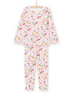 Ensemble pyjama T-shirt et pantalon rose et écru imprimé licornes et fantaisie enfant fille MEFAPYJUNI / 21WH1186PYJ001