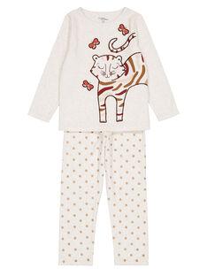 Pyjama beige chiné en velours enfant fille GEFAPYJTIG / 19WH11N9PYJ006