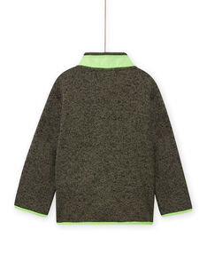 Gilet kaki chiné à empiècements vert fluo enfant garçon MOJOGITEK4 / 21W90211GILG631