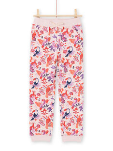 Jogging rose et violet imprimé perroquets et fleuri enfant fille MAJOBAJOG3 / 21W90113JGBD314