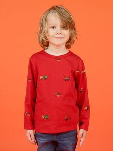 T-shirt manches longues rouge imprimé voiture, tracteurs et hélicoptères enfant garçon MOCOTEE2 / 21W902L4TMLF521