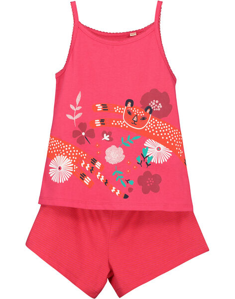Pyjama short fille rouge imprimé FEFAPYJANI / 19SH11H5PYJ304