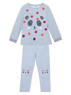 Pyjama en molleton chaud gris chiné enfant fille JEFAPYJDA / 20SH1127PYJ943