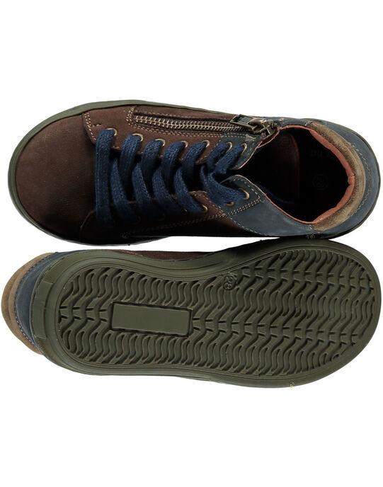 Basket en cuir marron réhaussée par l'arrière en cuir bleu marine. GGBASGREEN / 19WK36IAD3F802