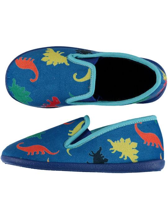 """Chausson forme """"sans gêne""""en velours bleu avec un imprimé dinosaures et piping bleu clair. Doublure et semelle intérieure en éponge pour plus de confort et de douceur. Fabrication française.  GGSGSAURE / 19WK36Z6D0BC218"""