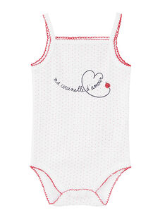 Body bébé fille à bretelles blanc JEFIBODCOC / 20SH13V3BDL000