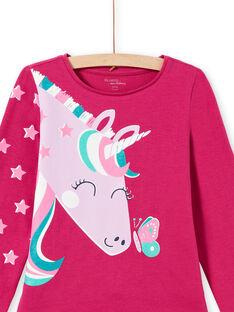 Ensemble pyjama T-shirt et pantalon rose foncé enfant fille MEFAPYJLIC / 21WH1173PYGD312