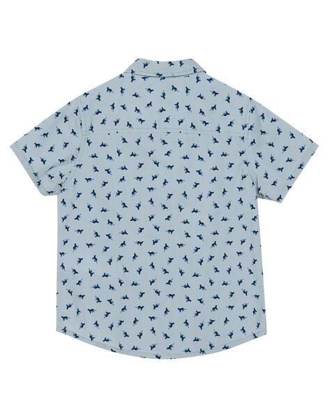 Chemise garçon gris galet manches courtes imprimée avec nœud papillon contrasté JOJASHIRT / 20S902B1CHMJ917