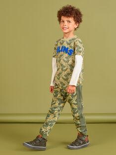 Jogging vert kaki imprimé léopard enfant garçon MOKAJOG2 / 21W902I2JGB612