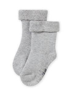 Chaussettes unies gris chiné maille bouclette bébé fille MYIESSOQB4 / 21WI09E9SOQJ920