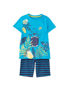 Pyjama court enfant garçon turquoise et marine JEGOPYCJUN / 20SH12U4PYJC242