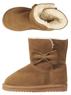 Botte chaude croûte de cuir camel enfant fille GFBOTTEPAU / 19WK35Y4D10804