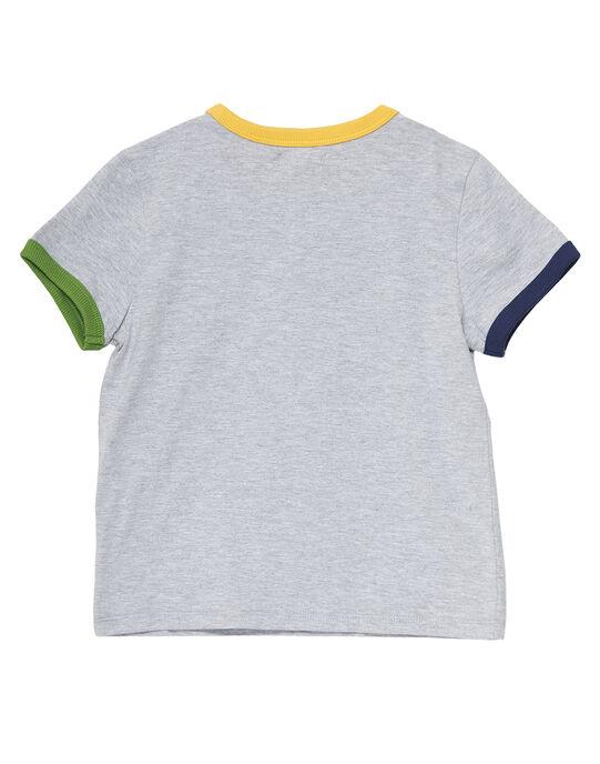 Tee shirt manches courtes gris chiné clair garçon ludique JOTROTI3 / 20S902F3TMCJ920
