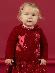 Cardigan rouge manches longues brodé bébé fille MIFUNCAR / 21WG09M1CAR504