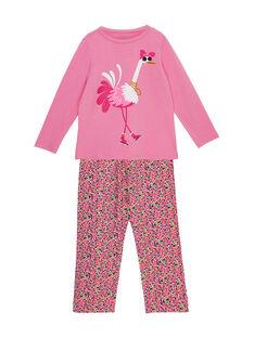 Pyjama en jersey rose enfant fille et bas en viscose  JEFAPYJAUT / 20SH1125PYJ030