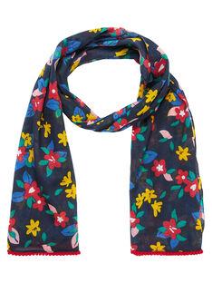 Foulard fille marine avec motif fleurs multicolor JYAGRAFOUL / 20SI01E1FOUC243
