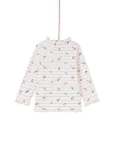 Sous-pull à côtes rayures violettes bébé fille KIBOSOUP / 20WG09N1SPL001
