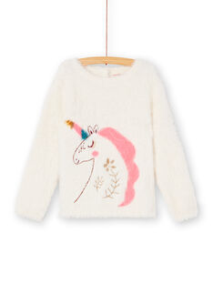 Pull manches longues en maille plume, licorne en intarsia et broderie KAGOPULL / 20W901L1PUL001