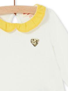 T-shirt écru motif cœur en sequins jaune bébé fille LIJOBRA1 / 21SG0932BRA001