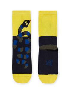 Chaussettes jaunes et noires à motif serpent enfant garçon MYOKACHO / 21WI02I2SOQ106