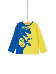 Tee shirt animé bleu et jaune, manches longues enfant garçon. KORETEE2 / 20W902G1D5I106