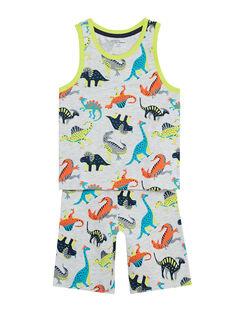 Pyjama court manches débardeurs enfants garçon gris chiné  JEGOPYCDIN / 20SH12U8PYJJ920