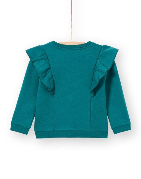 Sweatshirt bleu canard à volants et motif tigre enfant fille MAKASWEA / 21W901I1SWEG633