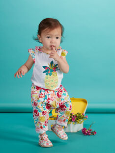 Tee shirt blanc manches courtes bébé fille JIBOBRA / 20SG09H1BRA302