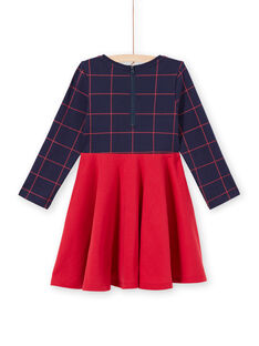 Robe manches longues bicolore bleu nuit et rouge enfant fille MAJOROB6 / 21W90125ROBC205