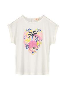Tee-shirt écru imprimé fille GABLETI2 / 19W90192TMC001