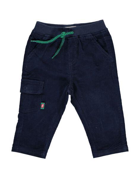 Pantalon en velours bleu marine bébé garçon DUJOPAN4 / 18WG1033PANC205