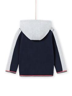 Sweat à capuche bleu marine et gris chiné enfant garçon MOJOJOH1 / 21W90212JGH705
