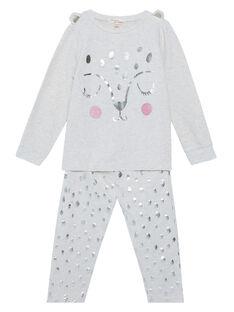 Pyjama beige chiné en french terry enfant fille JEFAPYJPAN / 20SH11C1PYJ006