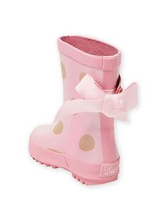 Bottes de pluie roses à pois dorés bébé fille MIPLUIPOIS / 21XK3712D0C321